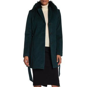 Andrew Marc Genuine Dyed Fox Fur Collar Wool Coat